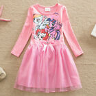 Girls Long Sleeve Cartoon Floral Big Bow Candy Colors Costume Party Dress Gown