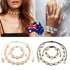Adjustable Natural Cowrie Shell Sea Rope Choker Necklace Bracelet Set Beach Au
