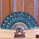 Chinese Silk Lace Peacock Folding Hand Held Fan Wedding Dancing Party Prom Decor