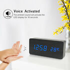 Electronic LED Desktop Clock Wooden Alarm Clock USB  3 Levels Brightness R9D2