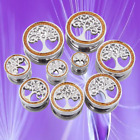 Pair Stainless Steel Tree Of Life Crystal Ear Plugs Soft Fit Gauges Tunnels