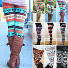 Damen Winter Norweger Leggins Schneeflocke Hose Leggings Weihnachten Elastisch