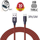 3/6/10 FT USB-C Type-C Nylon Braided Rope Data Sync Charger Charging Cable Cord