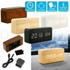 Modern Wooden Wood Digital LED Desk Alarm Clock Thermometer Timer Calendar EN