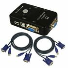 2/4 Port USB 2.0 KVM VGA Switch with 2/4 Set Cable For Mouse Keyboard Monitor PC