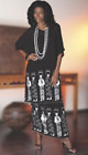 Ashro African American Pride Black White Beaded Ethnic MALIKI SKIRT SUIT SET S