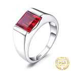 Men 3.3ct Quality Created Red Ruby Ring 925 Sterling Silver Rings for Wedding