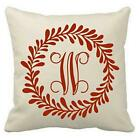 18 inch Canvas Pillow Cover - Laurel Wreath and Initial