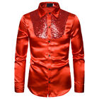 Luxury Men Silk Satin Sequin Shirt Long Sleeve Button Business Formal Top Blouse