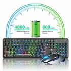 Au 620  Led Backlit Rechargeable Wireless Gaming Keyboard  + Game Mouse Set