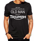 biker motorcycle t-shirt never underestimate an old man with a triumph men dad £14.99 GBP on eBay