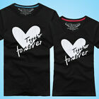 digital couple new short sleeve t-shirt male and female love text couple shirt p