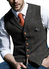 Herren Schwarz Tweed Weste Wolle Herringbone Notch Lapel Anzug Silm Fit S-XL-3XL