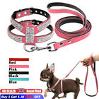 Dog Harness Leash set Suede Leather Rhinestone Pet Harnesses and Walking Leads