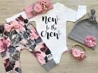 US 3PCS Infant Baby Girl Long Sleeve Top Romper Pants Leggings Outfits Clothes