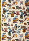 Route 66 Black & Natural Alexander Henry Fabric - Desert, States, MidWest, Texas