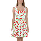 Skater Dress Color White with Red Cherry Fruit Design