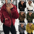 Women's Teddy Bear Coat Jacket Winter Warm Hooded Fur Fluffy Outwear Overcoat UK