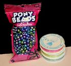 500 Dark Pearl Mix Pony Beads Plus 3 spools of strong and stretchy Crysta Line