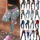 Womens High Waist Yoga Leggings Ruched Floral Butt Lift Sports Pants Fitness Gym