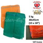 NET WOVEN BAGS Drawstring MESH Sacks Vegetables Logs Kindling 38x45cm 5kg