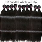 10A Straight 10 Bundle Deal Virgin Human Hair Weft Brazilian Weave Wholesale Lot