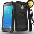 For Samsung Galaxy J2 Pure Dash Shine Case Belt Cover + Tempered Glass Protector