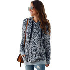 Women's Sexy Leopard Pocket Hoodie Plush Sweatshirt Pullover Outwear Coat Blouse