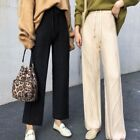 Womens Wide Leg Pants Knitted Cashmere Blend High Waist Straight Loose Trousers