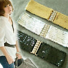 Glittery Metal Buckle Sequin Elastic Stretch Waist Belt XS S Black/Silver/Gold