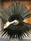 "Black Marabou  Pheasant Feather Fan 29"" x 53"" with Travel leather Bag"