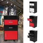 Locking Salon Storage Station Cabinet Trolley Cart W/Hair Dryer Holder Drawer