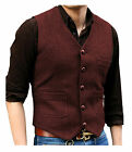 Herren V-Hals Vintage Wolle Tweed Herringbone Casual Weste Silm Fit S-XL-3XL
