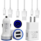 For Samsung Galaxy S10 S10e S9 S8 Plus Note 8 9 Car Charger Wall Plug USB Cable
