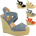 Womens High Wedges Summer Espadrilles Sandals Strappy Stretch Elastic Holiday