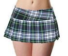 GREEN/WHITE SCHOOLGIRL PLAID TARTAN PLEATED JUNIOR/PLUS SIZE MICRO MINI SKIRT