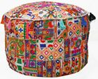 Patchwork Embroidery Ottoman Pouf Case Indian Vintage Pouffe Cover Xmas Decor