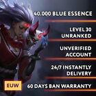 EUW League of Legends LOL Account Smurf 30.000 - 70.000 BE Unranked Level 30 <br/> 👁24/7 Instant Delivery 💎60 Days Warranty 🎲Clean MMR