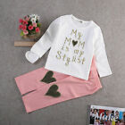 Toddler Kids Baby Girl Clothes Letter T-shirt Tops Pants Tracksuit Outfits Sets