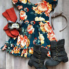 US Floral Toddler Kids Baby Girl Ruffle Short Sleeve Casual Summer Dress Clothes