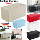 Faux Leather Folding Ottoman Storage Box Footstool Seat For Bedroom Living Room