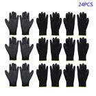 Black Nylon Work Gloves Safety Coating Builders Grip Palm Protect S M L Cover