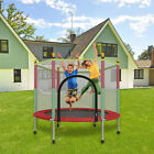 5FT Kids Mini Jumping Round Trampoline Exercise W/Safety Net Pad Enclosure Combo image