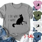 I DO WHAT I WANT Women Short Sleeve Shirt Black Cat Print Casual Graphic T-shirt