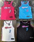 Men's Miami Heat 3 Dwyane Wade Jersey Basketball Limited Edition City Vice Shirt on eBay