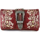 Western Floral Buckle Crossbody Trifold Wallet for Women image