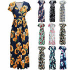 Women's V Neck Floral Maxi Dress Short Sleeve Beach Party Dresses Sundress