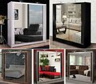 Modern Double Sliding Door Wardrobe Mirror CHICAGO 6 COLOURS - 5 SIZES - 2 LED