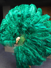 "Forest green XL 2 layers Ostrich Feather Fan 34"" x 60"" with leather Travel Bag"