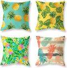Luckycow Throw Pillow Covers 18X18 Inch Set Of 4 - Cotton Linen Blue Yellow Pink